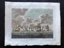 Field of Mars 1801 Hand Col Naval Print. Action off Cape Francois Oct 21 1757
